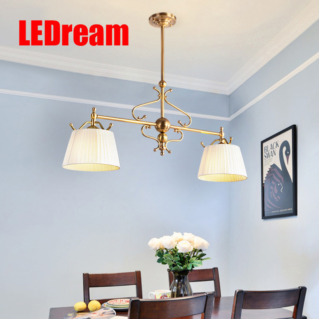 Restaurant Meals Chandeliers American Sitting Room Lamps And Lanterns European Style Full Copper Droplight Dining