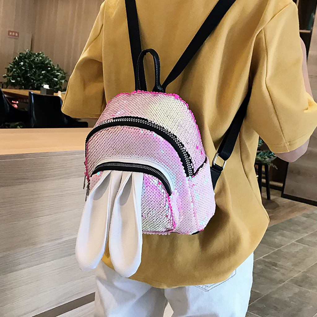 Leather Cute Cartoon White Bunny Pink Backpack Daypack Elegant Ladies Travel Bag Women Men