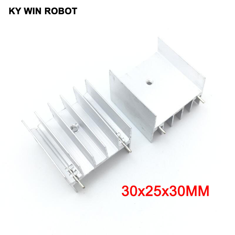 5pcs White Aluminium TO-220 30x25x30mm Heatsink TO 220 Heat Sink Transistor Radiator TO220 Cooler Cooling 30*25*30MM With 2pin