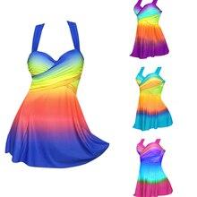 SEXY Gradient PLUS ขนาดกระโปรงชุดว่ายน้ำผู้หญิงสองชิ้น Push Up ชุดว่ายน้ำ Beachwear ชุดว่ายน้ำชุดหน้าอกขนาดใหญ่ Monokini S ~ 5XL