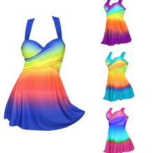 Sexy Gradient Plus Size Skirt Swimwear Women Two Piece Push Up Swimsuit Beachwear Bathing suit Dress Large Bust Monokini S~5XL