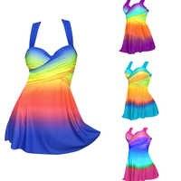 Sexy Gradient Plus Size Skirt Swimwear Women Two Piece Push Up Swimsuit Beachwear Bathing suit Dress Large Bust Monokini S~5XL