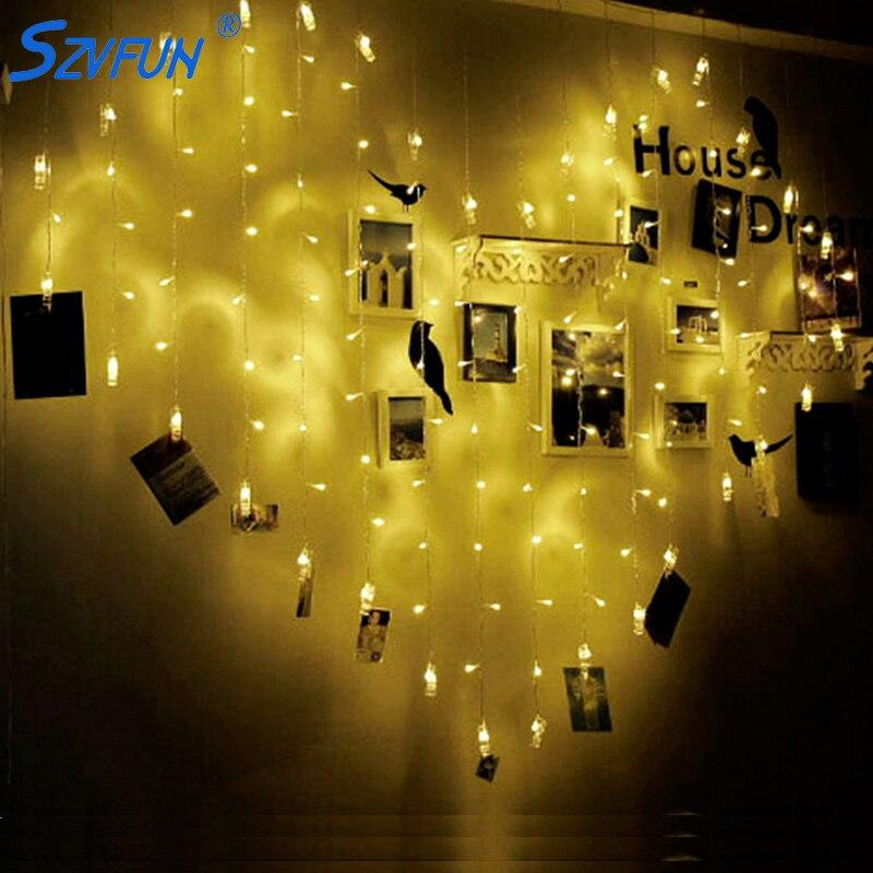 Szvfun 2x1.5 M Led Guirlande Kerst Led String Lights Hartvorm Foto Clip Flasher 220 V Cortina De Led Boom Bruiloft Decoratie Een Plus Een Gratis