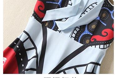 Haute Femmes Imprimé Maxi Art Piste Manches Designer Col Show À De Robe Longues Rétro Arc Date B149 Qualité Chemise Longue As Mode DWE2H9I