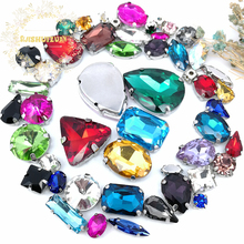 52pcs Mix size28different colors Super beauty top quality glass crystal flatback sew on claw rhinestones,diy/Clothing accessorie