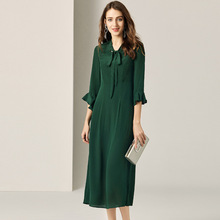 Dress Women Summer 2019 New Fashion Vintage French Style Solid Color Slim V-Neck Three Quarter Sleeves A-Line Dark Green