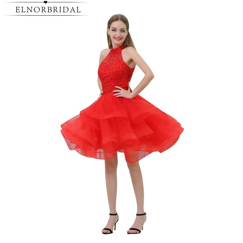 Sexy Red   Cocktail     Dresses   2019 Vestido De Festa Curto De Luxo Ball Gown Short Prom   Dress   Beading Girls Graduation Party Gowns
