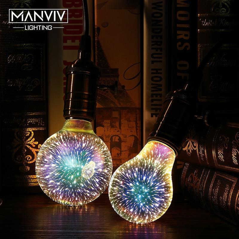 3D Stereoscopic Novelty LED Light Bulb 110V 220V E27 Fireworks Silver Plated Decorative Light A60 ST64 G80 G95 G125 Christmas