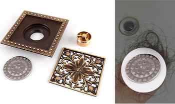 5 Colors High quality 15cm*15cm antique brass square vintage art carved floor drain cover shower waste drainer bathroom accessor
