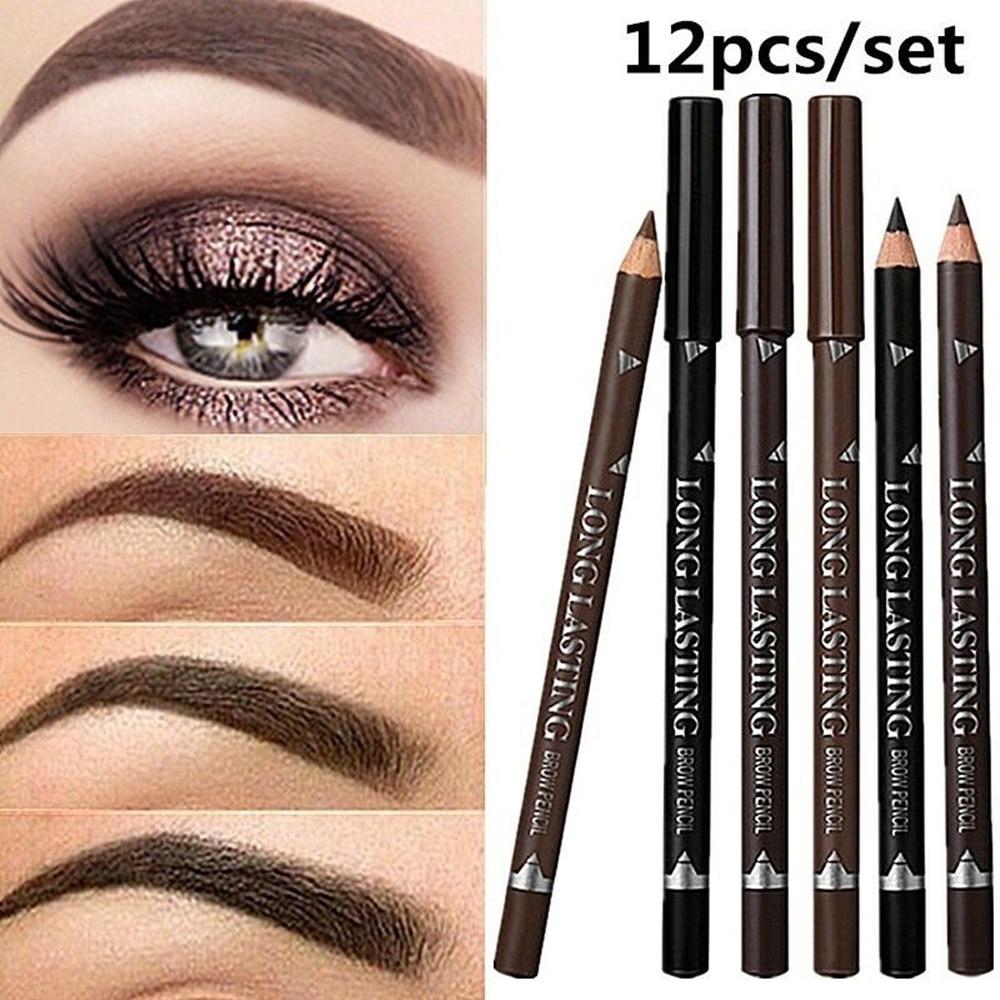 2019 nouvelle offre spéciale 12 pièces crayon à sourcils étanche noir brun stylo à sourcils maquillage longue durée livraison directe