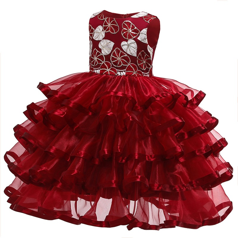 Flower Girl Dresses Embroidered Flower Formal Party Prom Girl Appliques Beaded Princess Mesh Drag Model Show Banquet