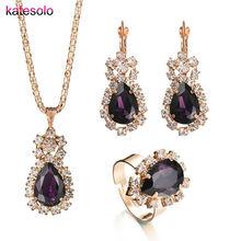 Charm Jewelry sets Fashion Purple Rhinestone Crystal Water Drop Necklaces Earrings Long Pe