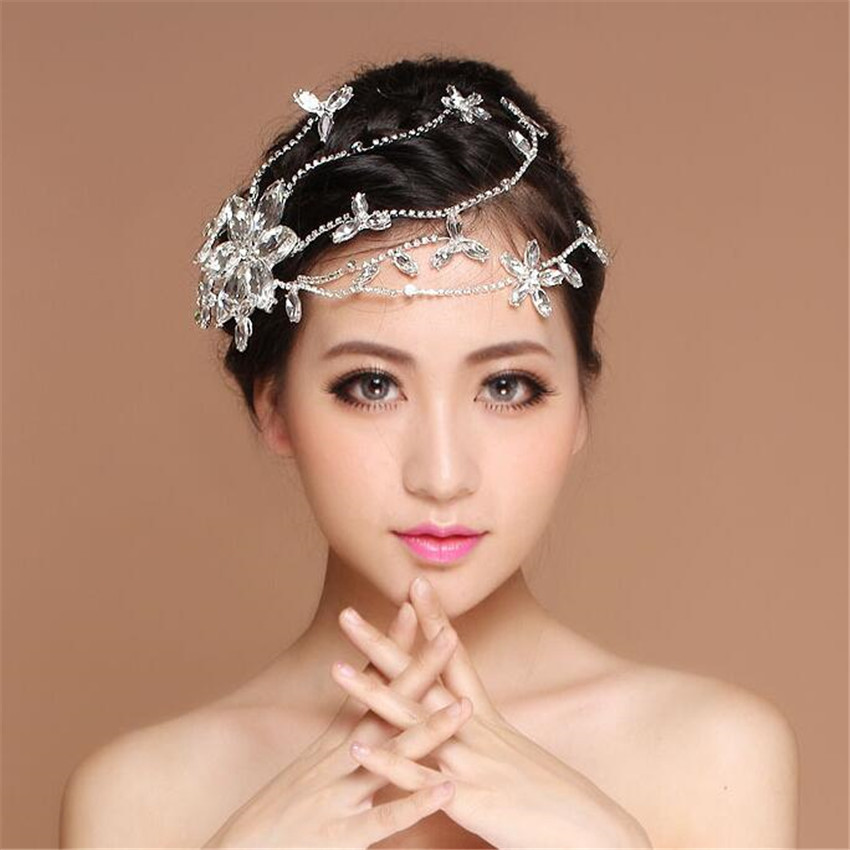 Wedding Headpieces With Forehead Jewelry: Luxury Crystal Flower Forehead Headband Tiara Crown Bridal