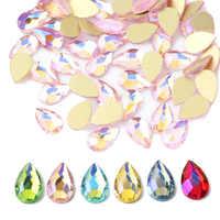 Neue stil 5x8mm Tropfen Nagel Strass Kristall Edelsteine AB Strass Steine Diamant Nagel Kunst Dekorationen Maniküre Werkzeuge