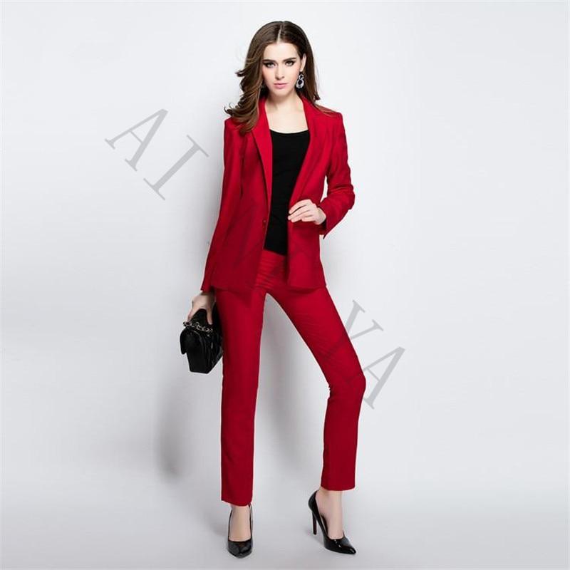 Bunda + kalhoty dámské obchodní obleky Černá a červená Dámská kancelářská uniforma Dámské zimní formální obleky 2-dílné sady Single Breasted