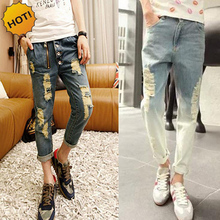 New 2017 Hip Hop Teenagers Hole Ripped Jeans Men Destressed Zipper Design Gradient Nine Pants Cargo overalls Harem PantsBottoms