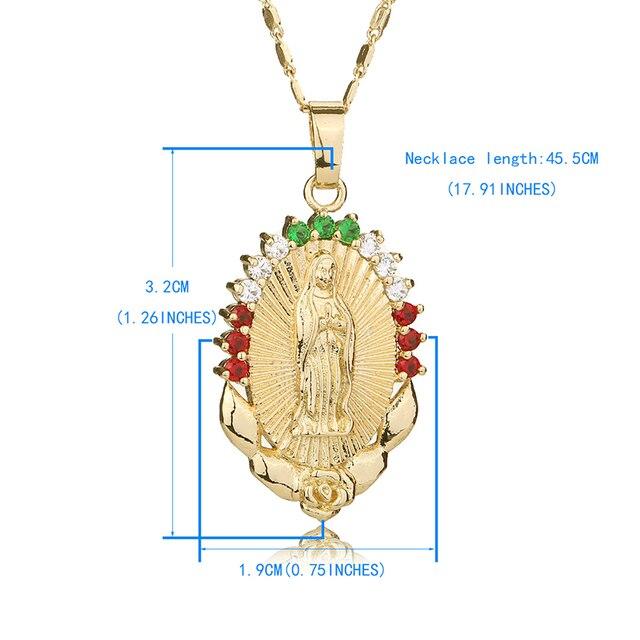 OUMEILY Oval Angolo Vergine Maria Maria Donne Degli Uomini Dei Monili di Colore Dell'oro Dichiarazione Collana Cattolica Religiosa Gioielli Festa di Fidanzamento