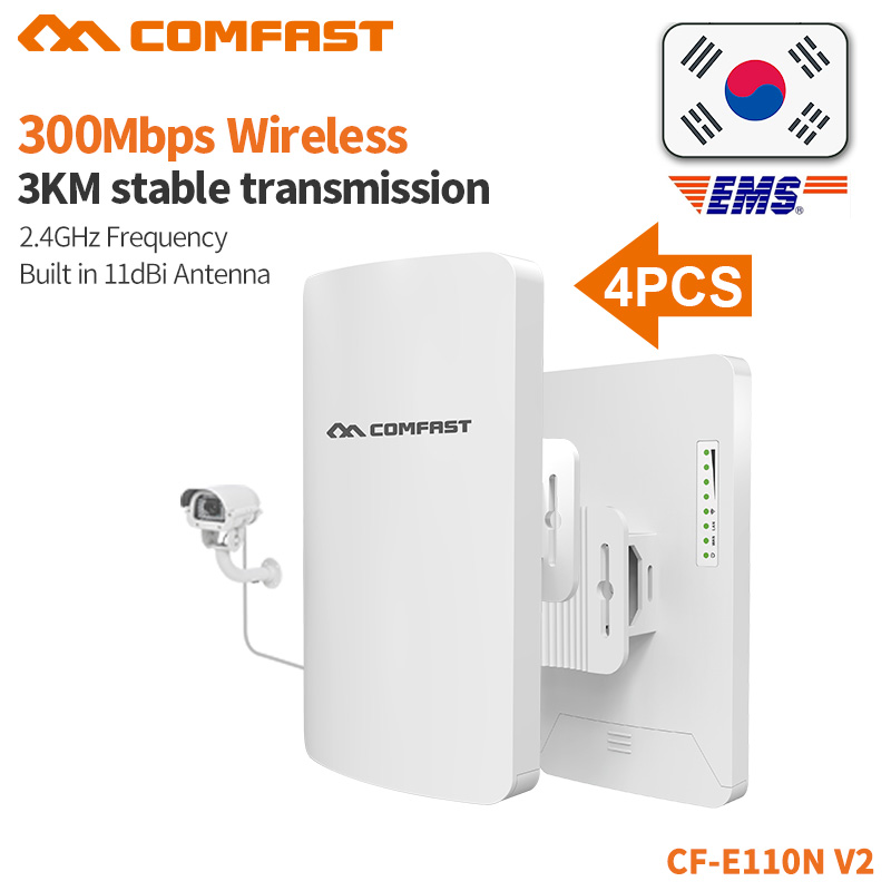 4PCS COMFAST 300mbps Mini Wireless Bridge Outdoor CPE 2 4G Wifi Router Repeater For Monitoring Project