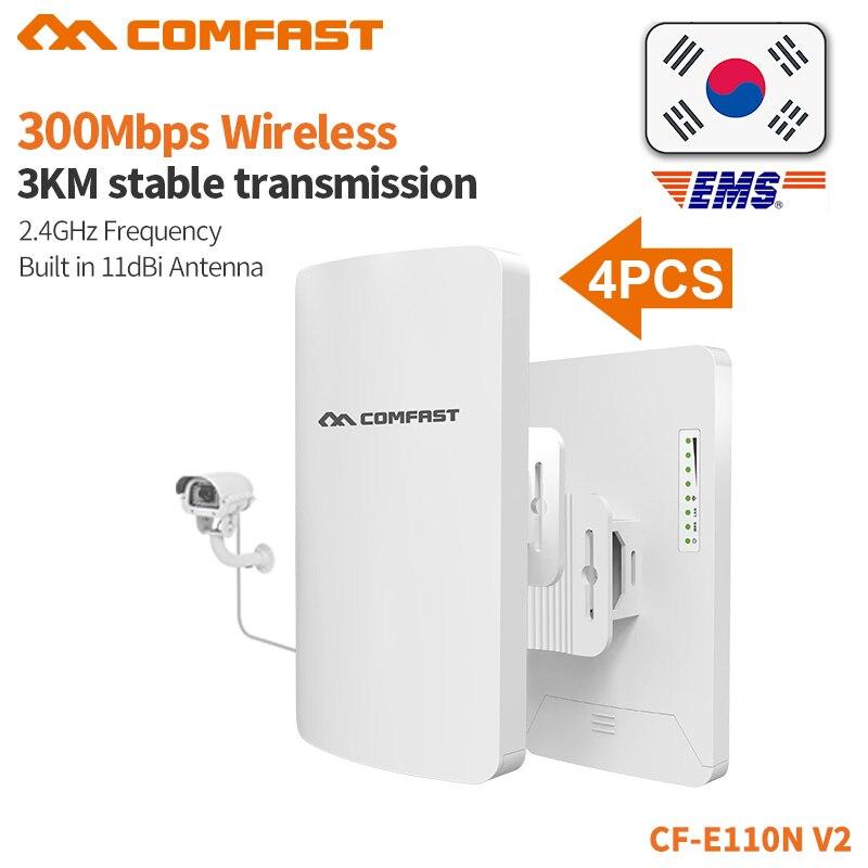 4 pièces COMFAST 300 mbps Mini pont sans fil extérieur CPE 2.4G Wifi routeur répéteur pour le projet de surveillance 1-2 KM amplificateur CF-E110N