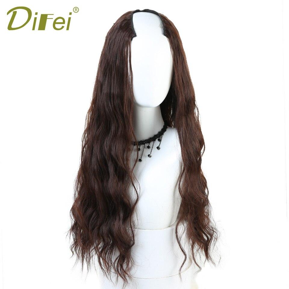 DIFEI Half Wig Long Wavy Hair Halloween Party Cosplay Half Wig Synthetic High Temperature Fiber Hair Extension