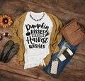 Женские футболки с изображением тыквы  поцелуев и урожая  на Хэллоуин  тыквы  День благодарения  милая графическая футболка  эстетические фу...