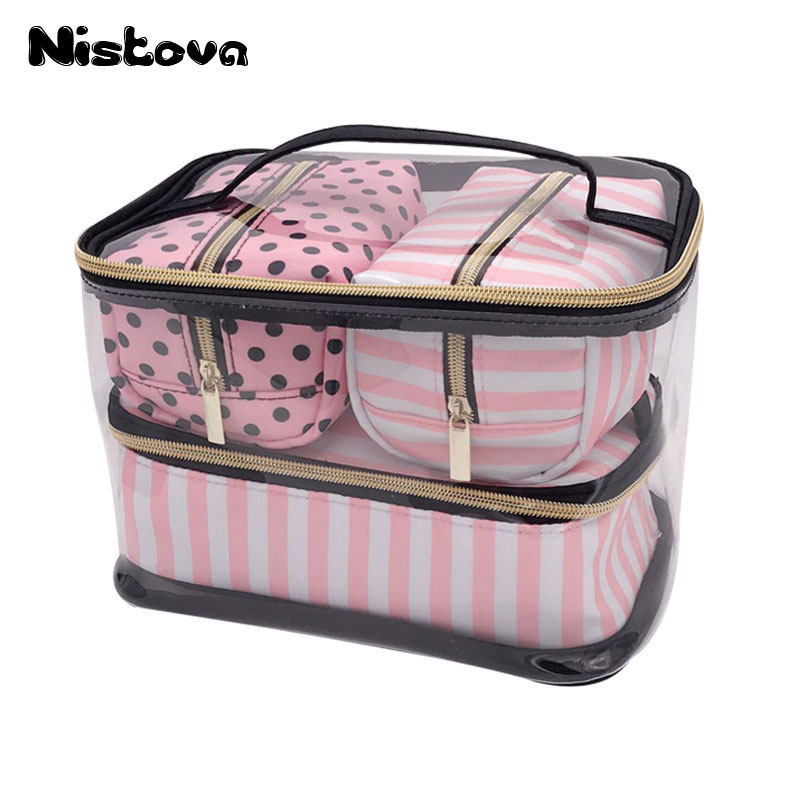 PVC Transparent Cosmetic Bag Travel Toiletry Bag Set Pink Make-up Organizer Pouch Makeup Case Beautician Vanity Necessaire Trip 2017 new beautician necessarie vanity pouch necessaire trip beauty women travel toiletry kit make up makeup case cosmetic bag