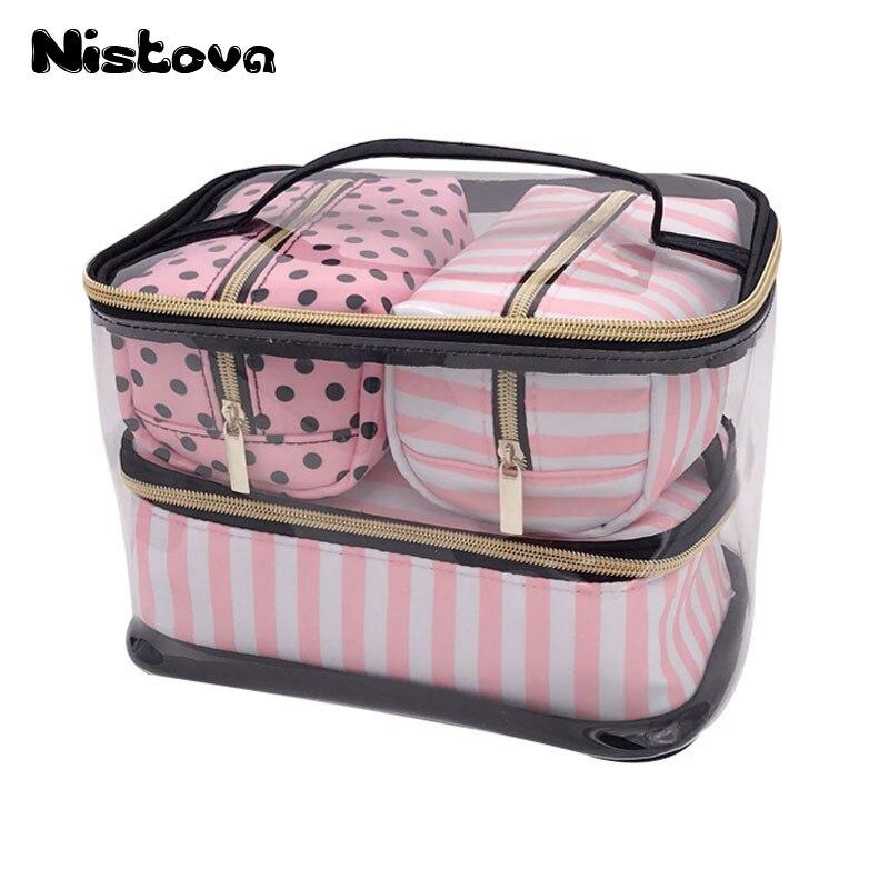 PVC Transparent Cosmetic Bag Travel Toiletry Bag Set Pink Make-up Organizer Pouch Makeup Case Beautician Vanity Necessaire Trip