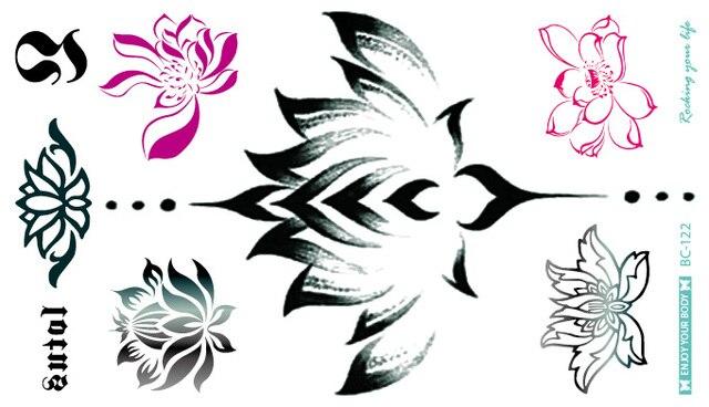 BC-122 24X13.8cm Body Wreath Sexy Tatuagem Taty Body Art Temporary Tattoo Lotus Flower Water Drop Waist Circle Tatoo Sticker