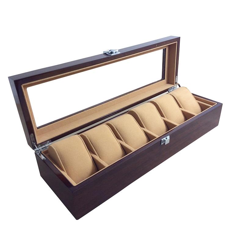 6 grille élégante Durable rouge foncé montre en bois boîte d'affichage montres boîtier fenêtre bijoux stockage titulaire organisateur livraison gratuite