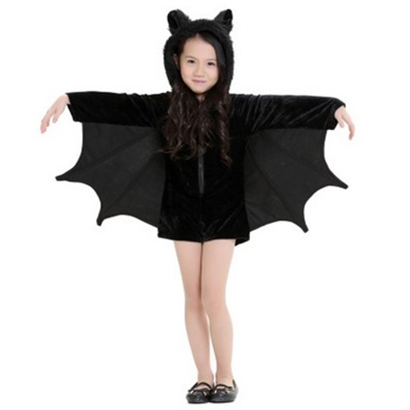XS-XXL Mother and daughter cloths Animal Cosplays Black Bat Costume Batman Role play Carnival Christmas Masquerade party dress