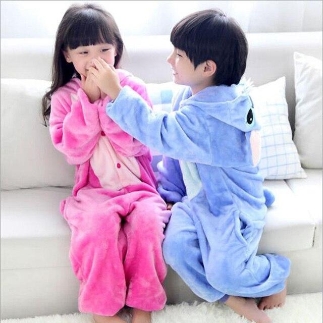 Pyjamas dhiver mignons pour bébés garçons filles   Tenue de nuit, en flanelle, point danimal, design de dessin animé, vêtements pour enfants
