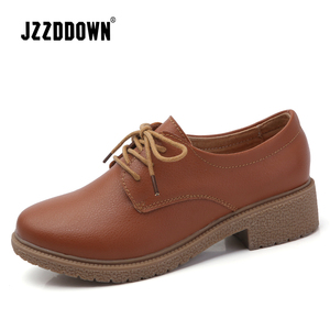 Image 2 - JZZDDOWN leather shoes woman Suede women sneakers oxford womens shoes Lace up Luxury autumn loafers women female shoe