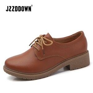 Image 2 - حذاء من الجلد الصناعي للنساء من JZZDDOWN حذاء أكسفورد للنساء برباط علوي حذاء بدون كعب خريفي فاخر للنساء