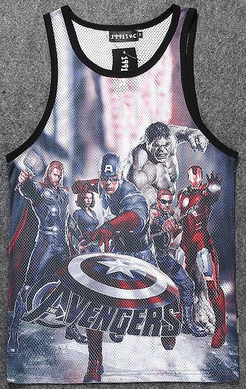 Quadrinhos da Marvel The Avengers Age of Ultron Colete dos homens 3D Capitão América Homem De Ferro Parte Superior Do Tanque de musculação Undershirt