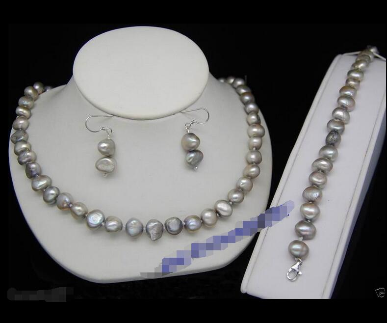 Wholesale price 16new ^^^^Rare nice 8-9mm AAA+ gray baroque pearl Necklace bracelets earrings jewelry sets wholesale price 16new ^^^^ewellery green stone inlay zircon earring pendant ring sets