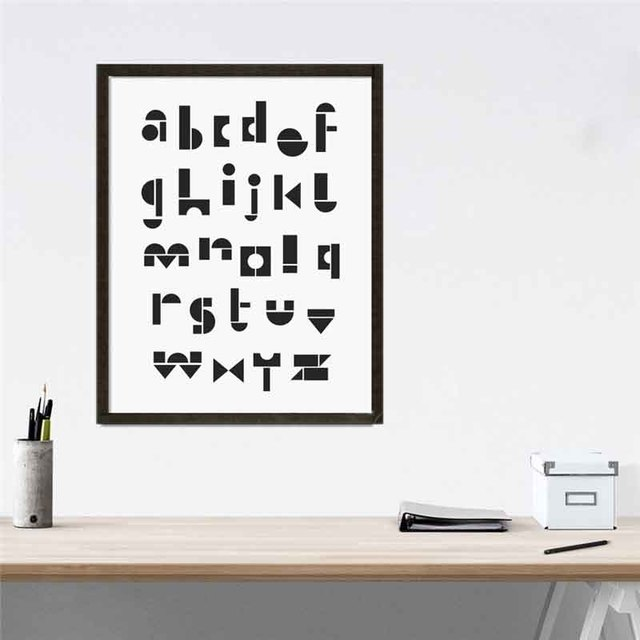 Modern Nordic Minimalist Typography Alphabet English Letter Art Canvas Prints Wall Pictures Posters For Kids Room