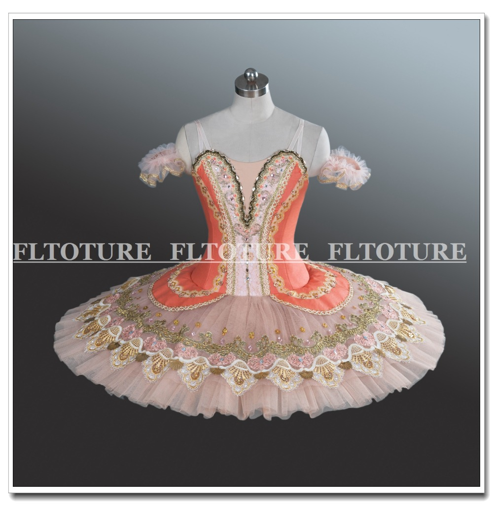 Ballet Sleep Beauty Costumes Girls Ballet Tutu For Best Show&Test Classical Nutcracker Meat Pink Color Tutus Dance Clothes AT123