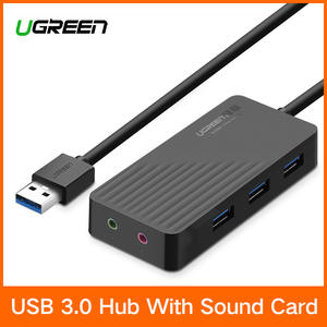 Ugreen All in One USB Sound Card with USB 3.0 to HUB External 3.5mm USB Adapter