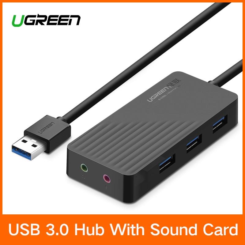 Ugreen todo en una tarjeta de sonido USB con USB 3,0 HUB externo 3,5mm adaptador USB interfaz de Audio tarjeta de Audio de la computadora