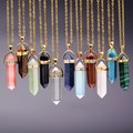 11 Colores Plateado Oro de la Piedra Natural Collar Colgante de Ópalo Para Las Mujeres Forma de la Bala Turquesa Crystal Gem Stone Collares