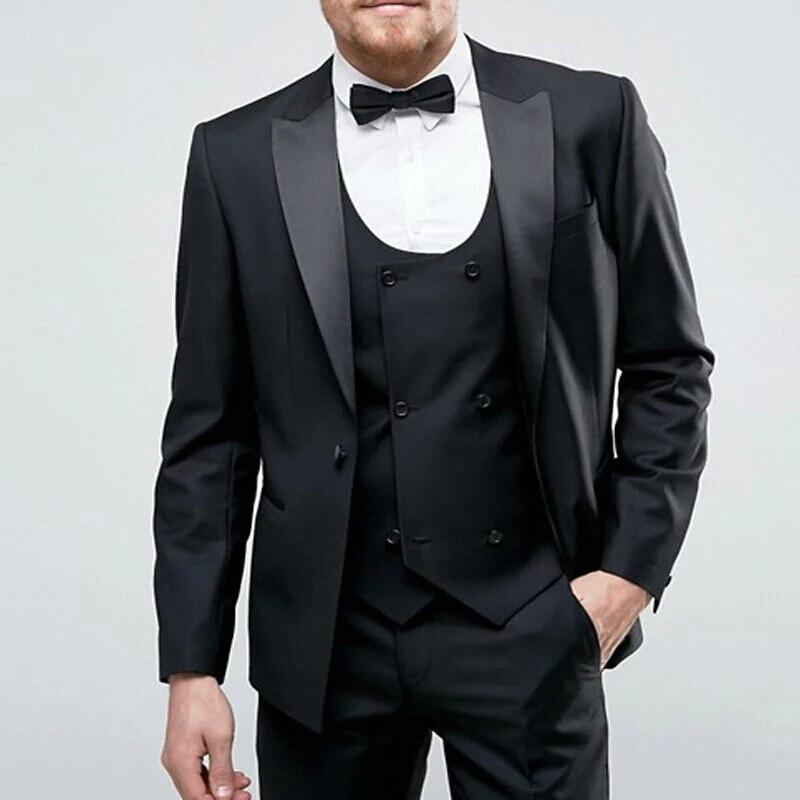 Costumes de mariage hommes noirs sur mesure costumes Homme Blazers 3 pièces Slim Fit manteau pantalon gilet Costume Homme vêtements de bal Terno Masculino