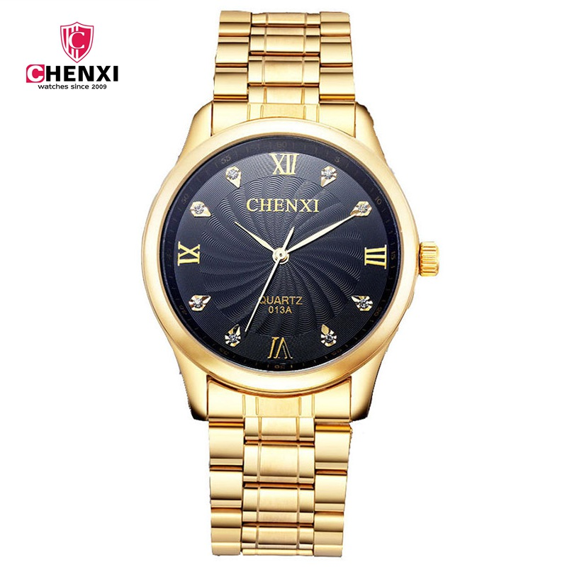 Luxury Man Dress Watches Gold Stainless Steel Rhinestone Roma Analog Antique Business Quartz Wristwatch Man Casual Clock Gift