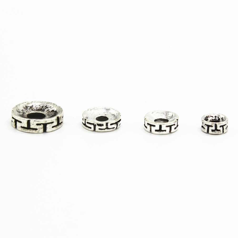 JEWELLERY-BEADS 100 x 3mm Antique Silver Plated Alloy Round Ribbed Spacer Beads