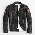 2014 USA Motorcycle clothing Stand collar Short paragraph Indian chief embroidery Cowhide Men's leather jackets Limited amount