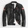 2014 cuello alto ropa EE. UU. Motocicleta párrafo Corto jefe Indio bordado chaquetas de cuero de piel de Vaca de Los Hombres cantidad Limitada