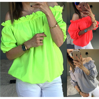 4 color S~XL Plus Size Fashion Casual Slash Neck Plaid Half Sleeve Cotton Blouse Sexy off shoulder Women tops shirt