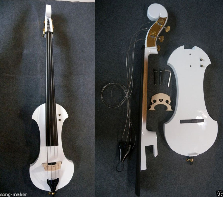 1 # 4  string  white    3/4 new    Electric Upright Double Bass Finish silent Powerful Sound 2 pcs baroque double bass bow 3 4 snake