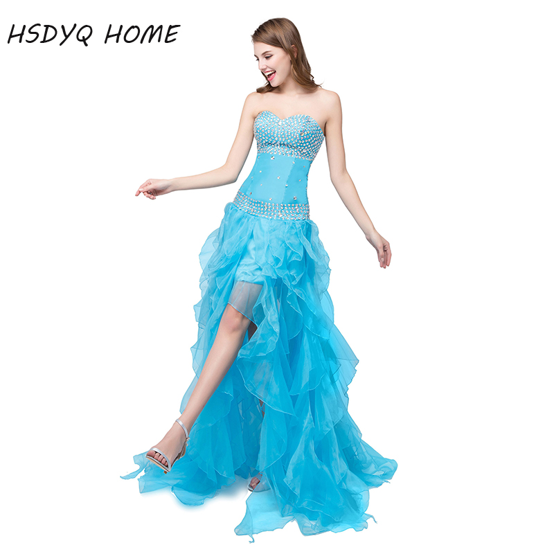 HSDYQ HOME High Low Blue   Prom     Dresses   2018 With Rhinestones And Ruffles Sweetheart Evening Gown Party   Dresses