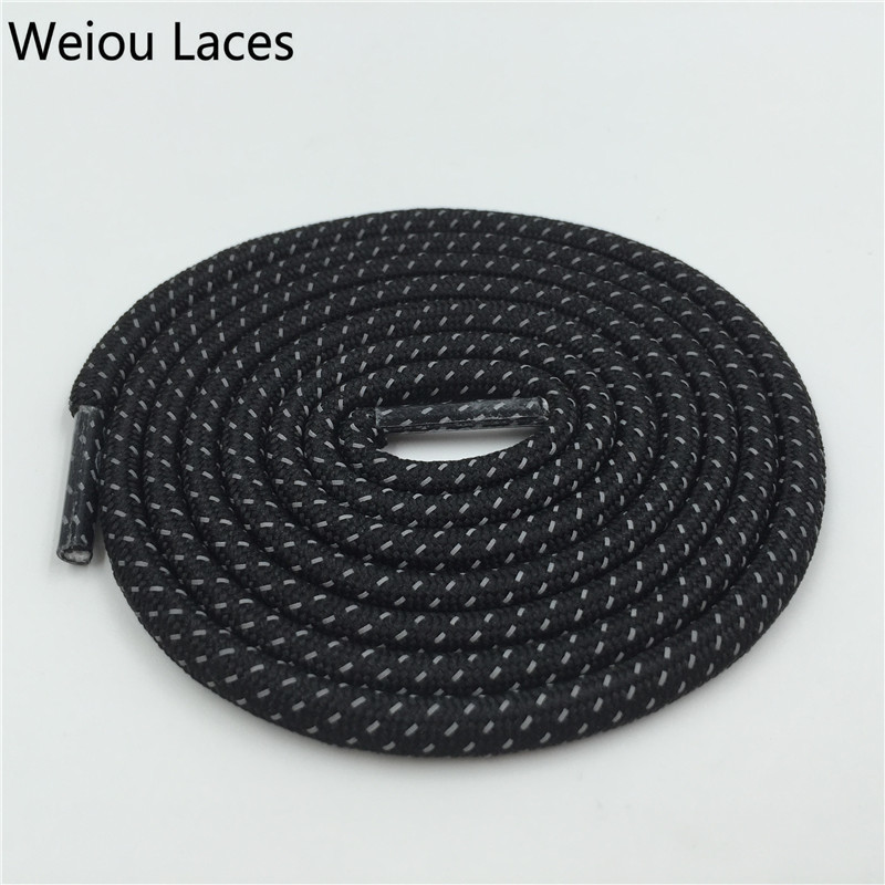 Weiou New 3M Reflective Shoelaces Safety Shoe Lace Polyester Latchet Plastic Tip Shining Creative Black Rope Laces For Sneakers