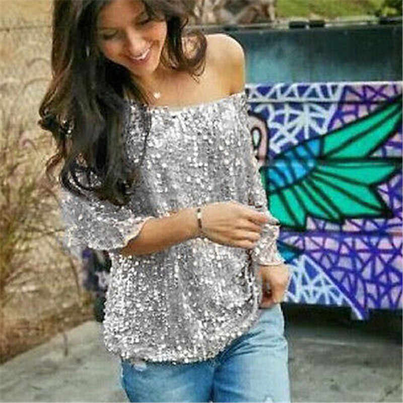 66bf5834b05 ... Ladies Off-shoulder Sexy Slim Loose Shirt Top Glistening Sequin T-shirt  Tshirts Tees ...